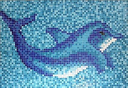 Mosaico quadro vetro azzurro blu delfino papierverklebt per
