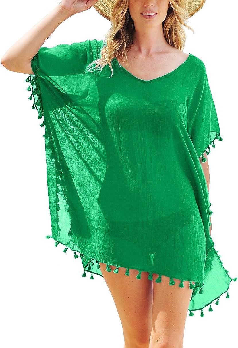 PINKMILLY Donne Chiffon Nappa Costume da Bagno Abito da Spiaggia Copricostumi e Parei