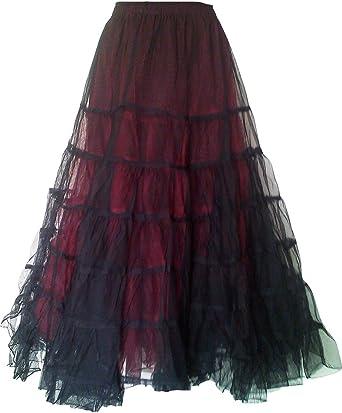 BARES Punk Prom Wear Victorian Net Skirt One Size Maroon