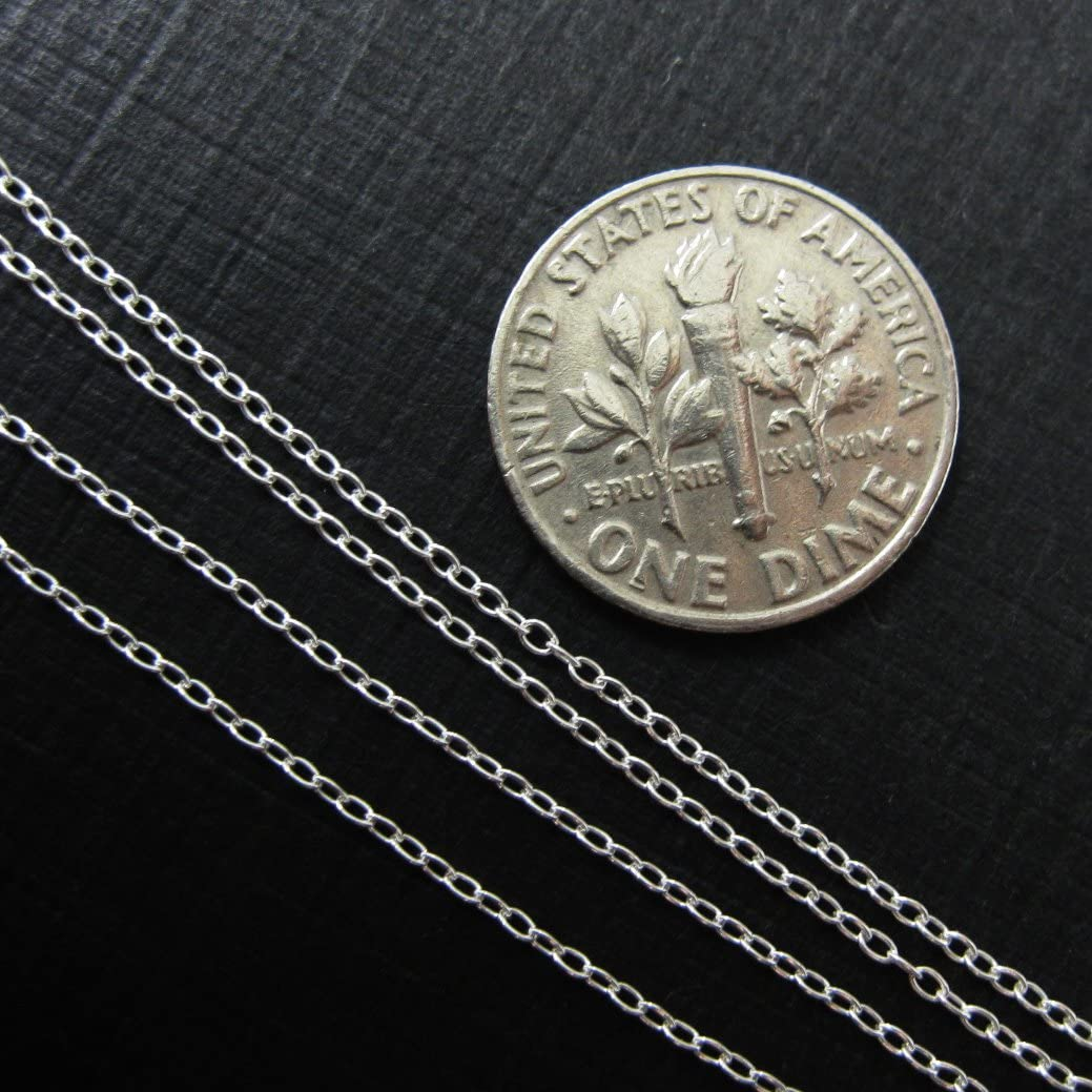 10 feet Sterling Silver Chain Jewelry Making Chain Bulk 1.6 by 1.1mm Tiny Oval Cable Chain