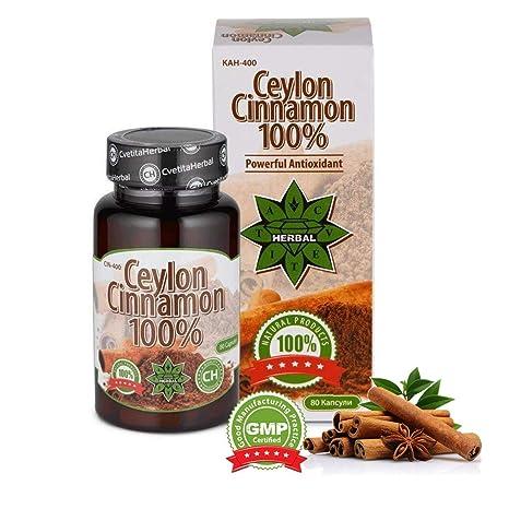 Canela de Ceilán de 100% - Cvetita Herbal UK - 80 cápsulas orgánicas | Antioxidantes