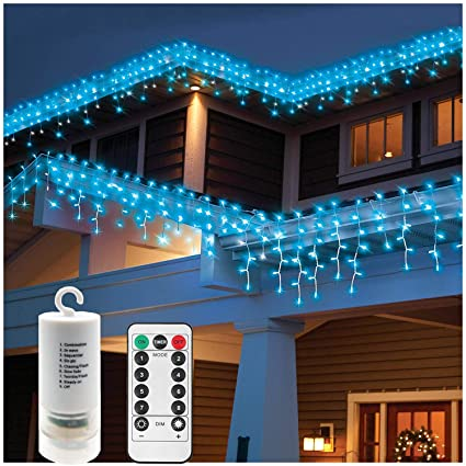 Window Curtain Icicle Lights with Remote,19.7ft x 2.3ft 300 LED,Battery - Amazon.com : Window Curtain Icicle Lights With Remote, 19.7ft X 2.3