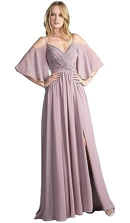 0bb65b28f9 Cinderella Divine CJ267 Cold Shoulders Flutter Sleeve Evening Dress in  Burgundy