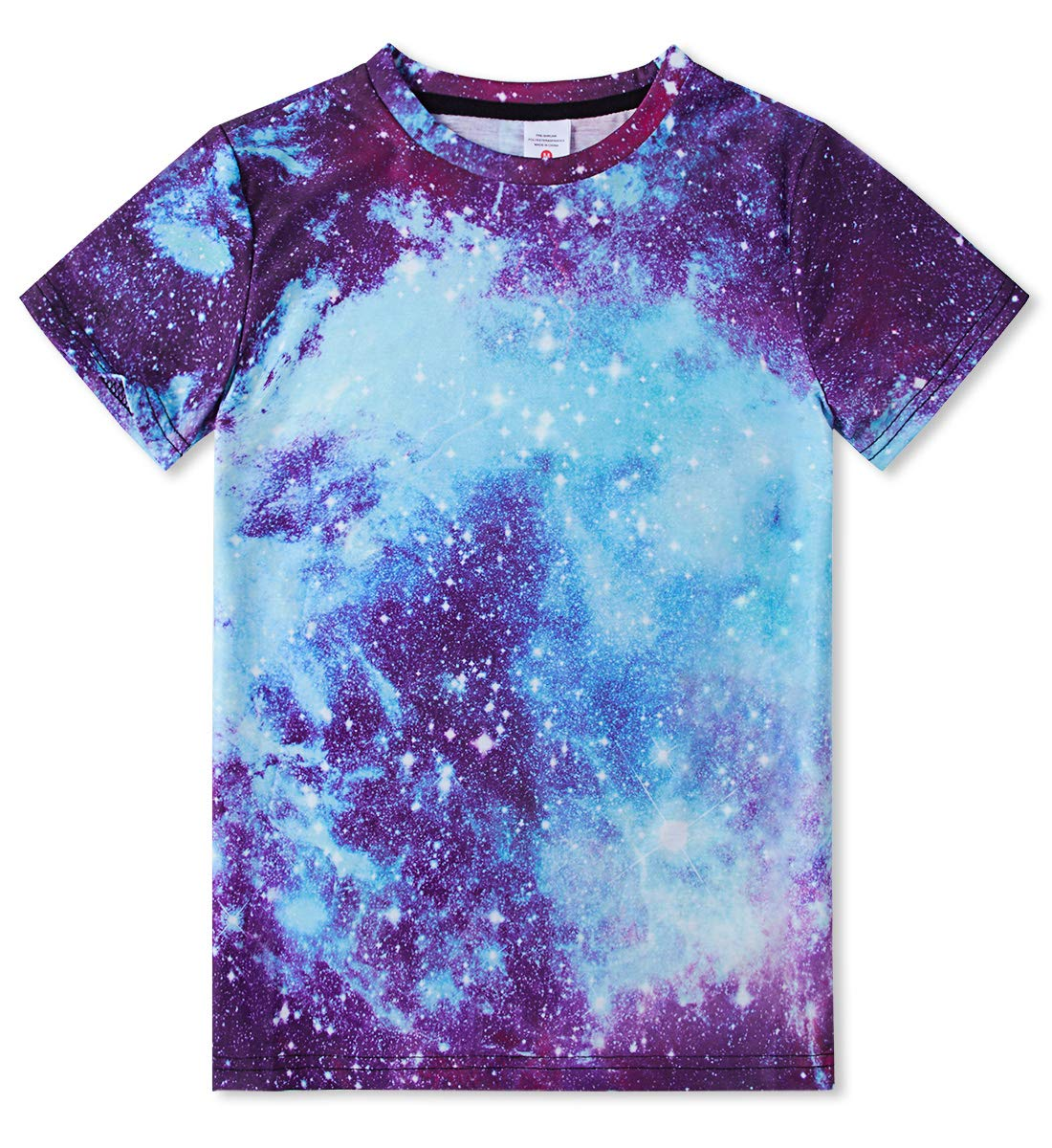 Short Shirts for Little Boy Blue Tees Shirts Universe Gradient Shirt Clothing 3D Printing Short Sleeve Funny Casual Galaxy Tops Polo T Shirts for Kids 6-8 Years Old