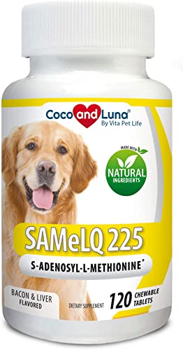 Same for Dogs – S-Adenosyl-l-Methionine, Same LQ 225, Promotes Cognitive Brain Support and Natural Hepatic Liver Health, 120 Natural Chew-able Tablets.