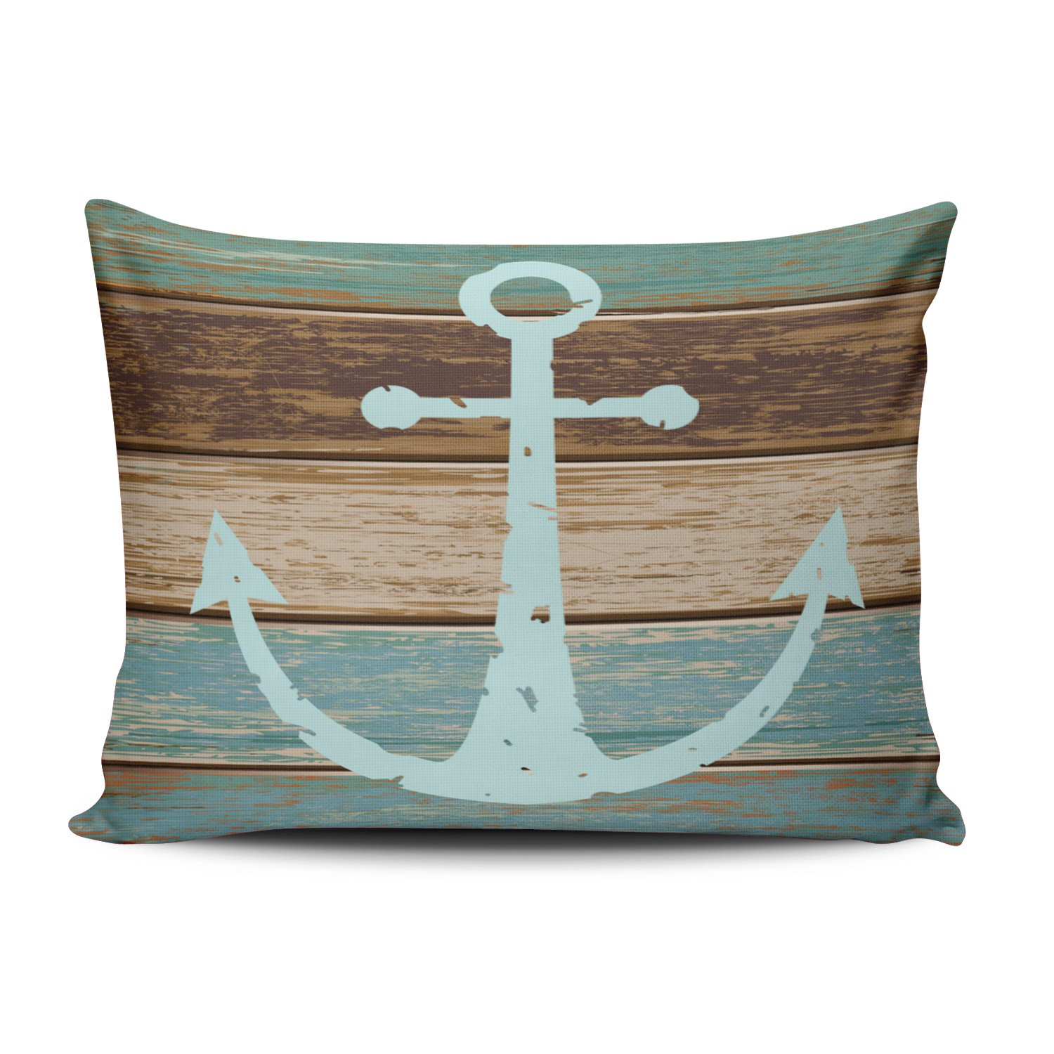 Fanaing Bedroom Custom D¨¦cor Nautical Anchor Weathered Wood Coastal Themed Pillowcase Soft Zippered Brown Aqua Mint and Turquoise Pillow Case Fashion Design One-Side Printed Standard 20x26 Inches by Fanaing (Image #1)