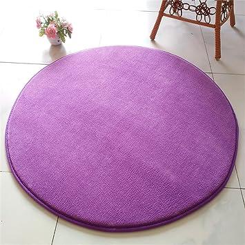 Salon rond coussins chambre tapis rond (Couleur : Violet, taille ...