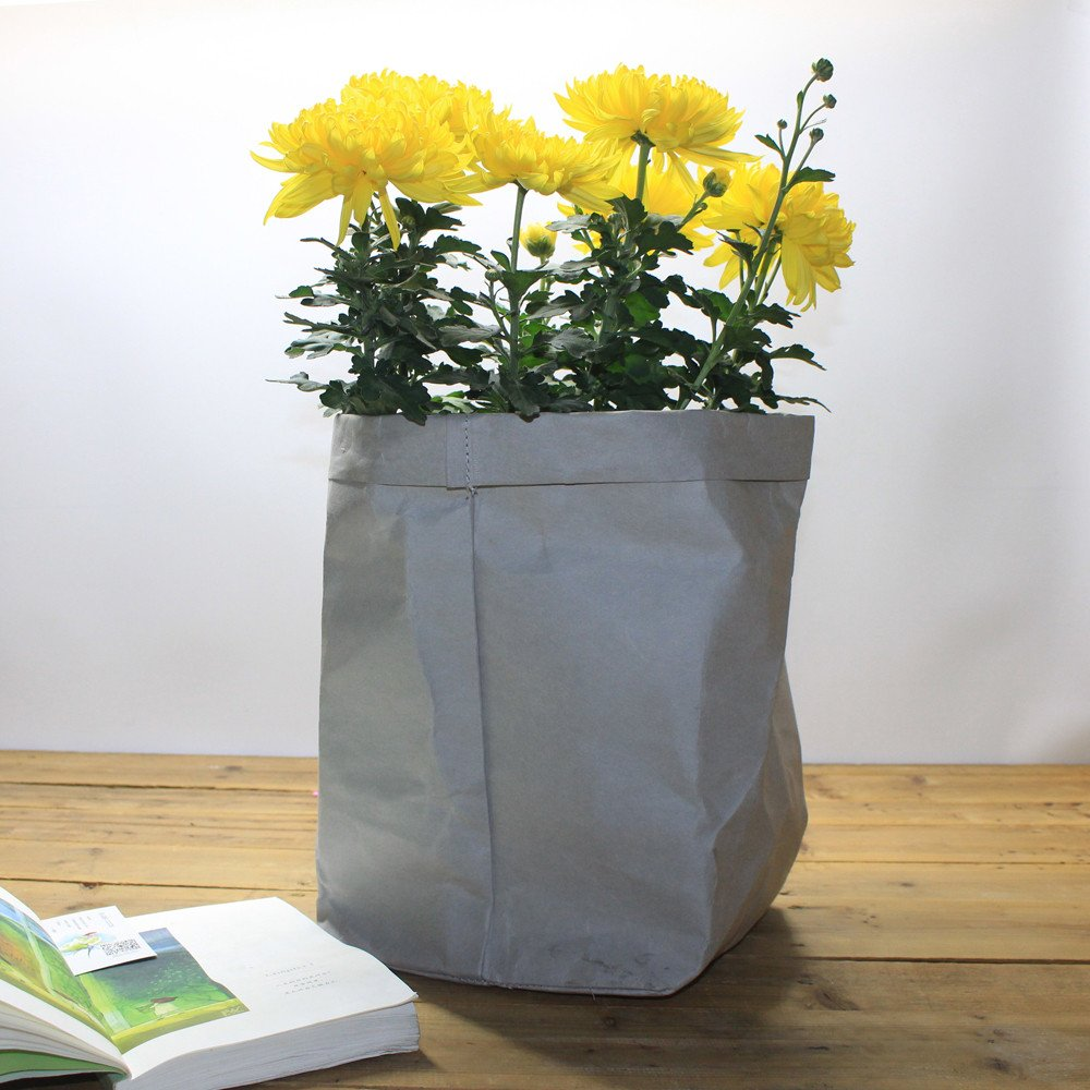 CapsA Multifunction Storage Bag Washable Kraft Paper Bag Tearless Leather Food Insulation Bag Plant Flowers Pots Home Storage Bag Reuse