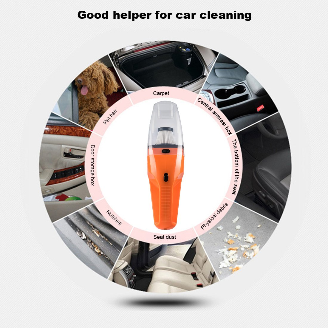 Car Vacuum Cleaner DC 12V Wet Dry Auto Dustbuster Portable Handheld Auto Vacuum Cleaner for Car 4000Pa Suction 120W Car Hoover with HEAP Filter & 5 Meters/16.4 FT Power Cord(1 Yr Warranty) Orange by candyfouse (Image #5)