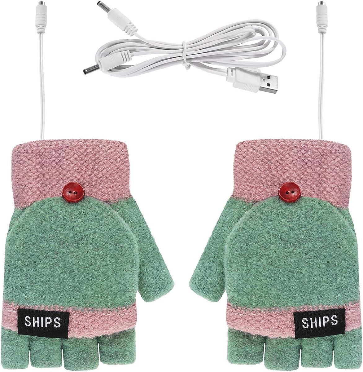 Men's Women's USB Heated Gloves Mitten Fingerless Gloves Winter Computer Gloves