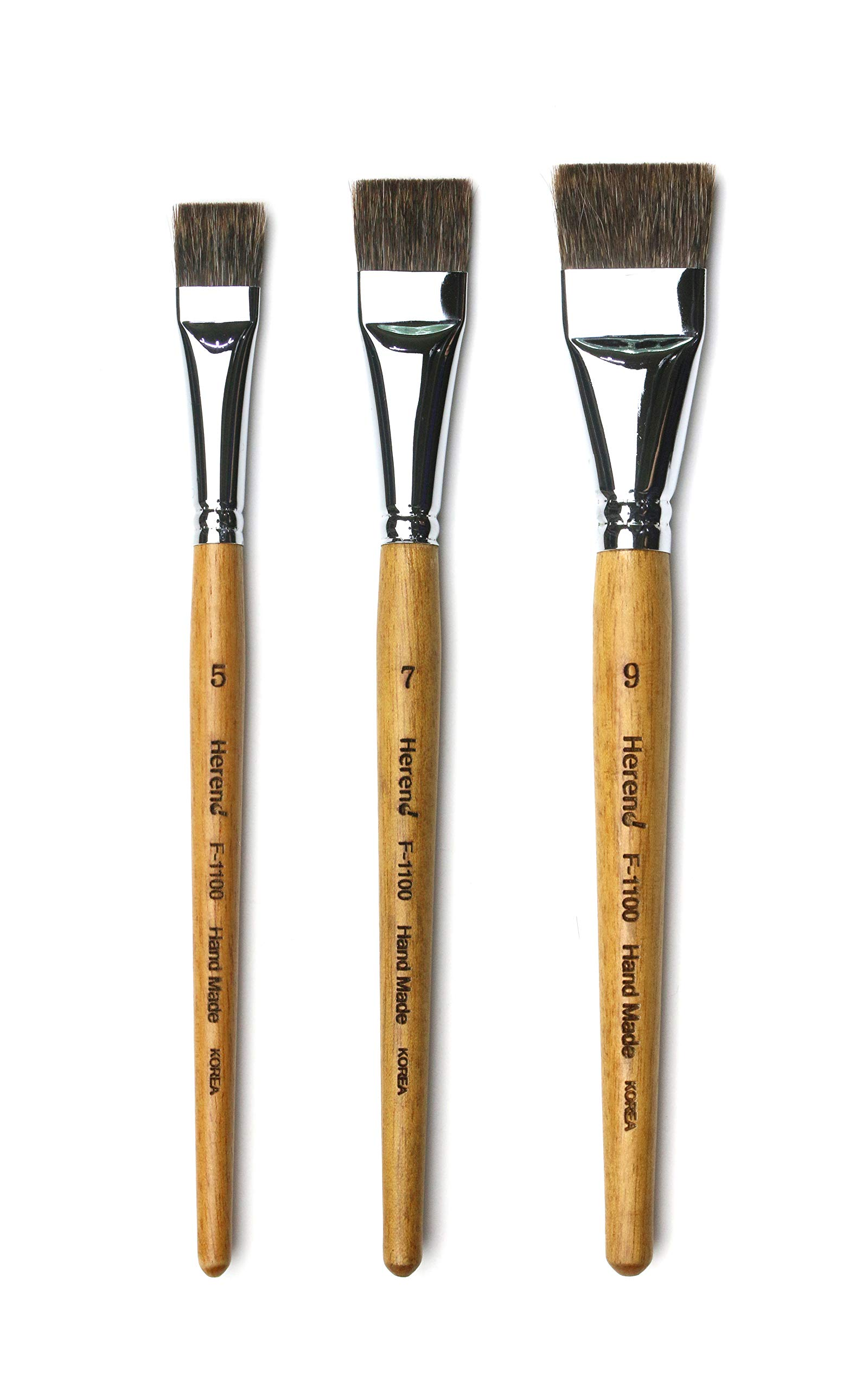 Herend Brush Series F-1100 (No.3 ~ No.13) for Watercolor with Chipmunk Hair/Hake Flat Paintbrush (Set (5,7,9)) by Herend Brush