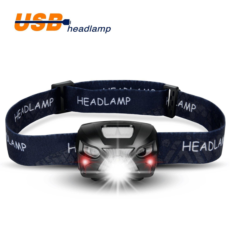Faros LED, recargable por USB faro delantero Super brillante ligero y cómodo, IPX6 resistente
