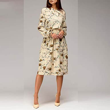 Unique-Shop Women Casual Knee-Length Dress 2018 Long Sleeve Printing Spring Dress for
