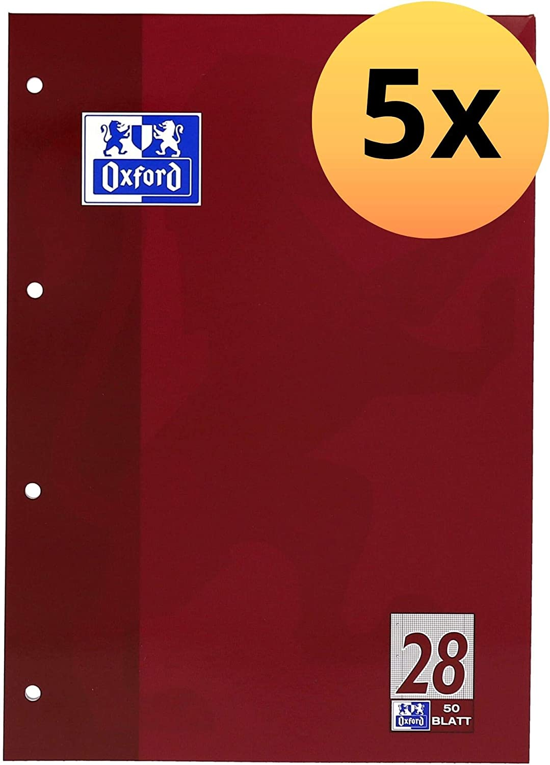 5er-Pack Oxford School Notepad Ruled Glued at Top A4