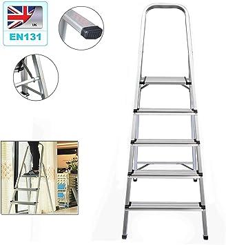 Escalera de 5 peldaños, portátil, ligera, de aluminio, antideslizante, fácil de almacenar, diseño plegable, para la limpieza del hogar, oficina, cocina, decoración de pintura: Amazon.es: Bricolaje y herramientas