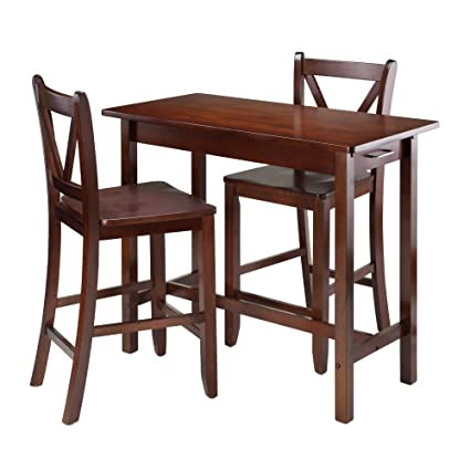 Amazon Com Winsome 3 Piece Kitchen Island Table With 2 V Back