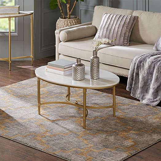 Bordeaux Coffee Table White Gold See Below