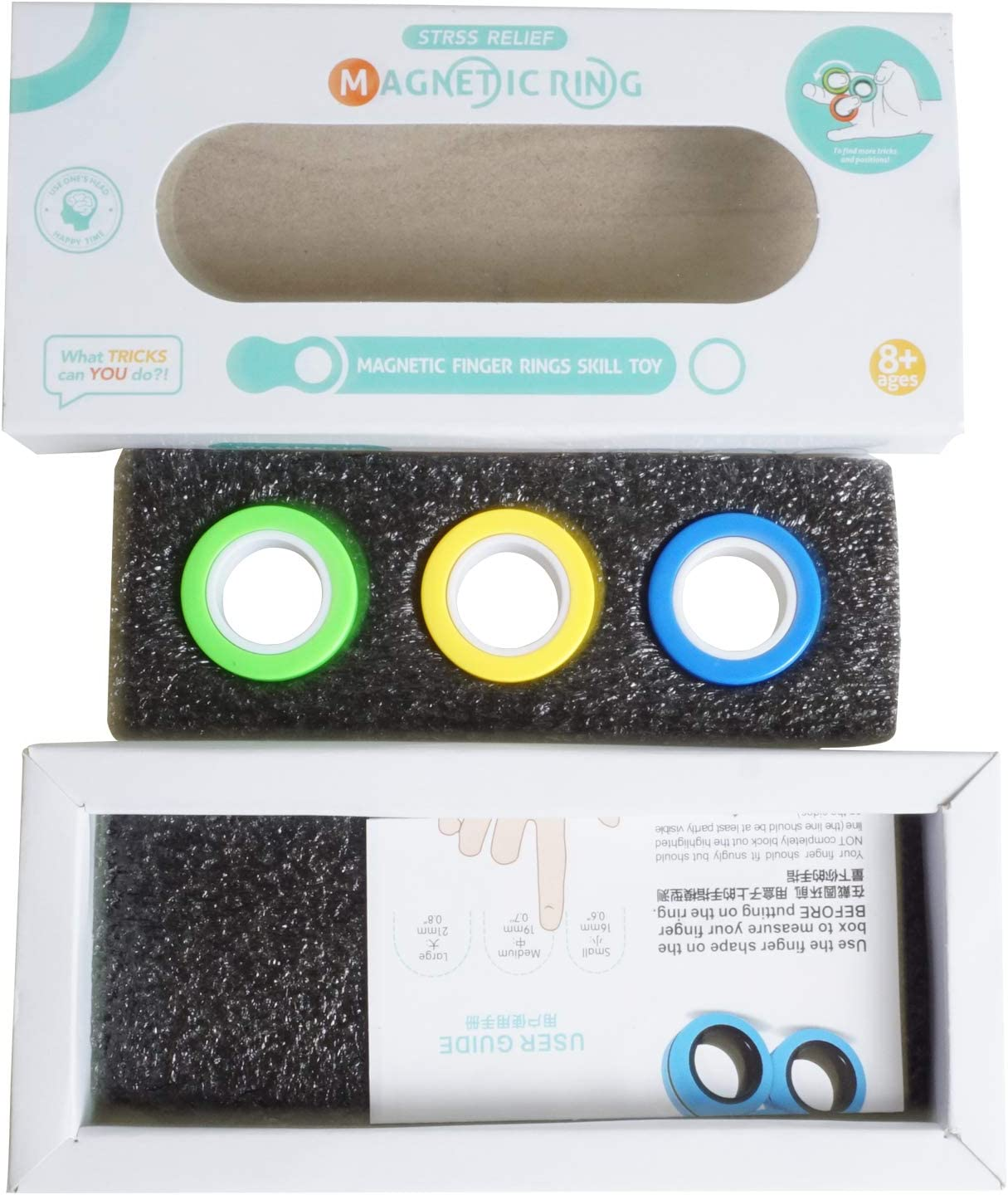 Random Color Stress Relief Magnetic Rings,Anti-Anxiety Finger Gear Office Boring Hand Toy Fidget Spinner for Relieving ADHD 3Pack