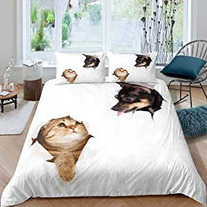 Erosebridal Cat Comforter Cover Set Cute Animal Dog Printged Bedding Set Modern Simple Style White Duvet Cover Cool Chinese Rural Dog Pattern Kawaii Decor Quilt Set with Zieppr Ties, Twin Size