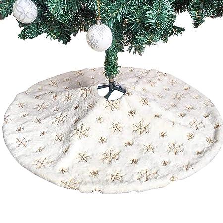 JUSTDOLIFE 35.43in Bordado De Navidad Decoración De árbol Falda ...