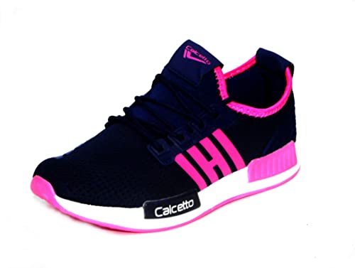 aff5bda42fde calcetto Merry Navy Fuschia Women Sports Shoes.  Amazon.in  Shoes ...