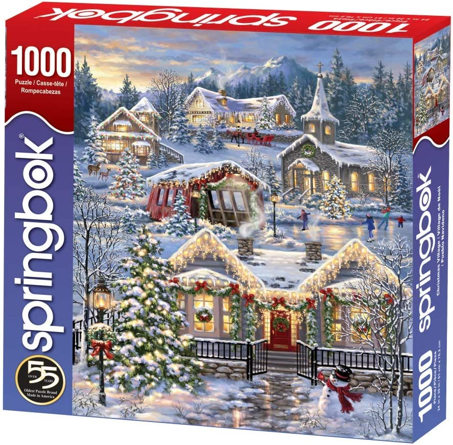 Springbok Puzzles Large 30 Inches by 24 Inches Puzzle Unique Cut Interlocking Pieces Made in USA Christmas Village 1000 Piece Jigsaw Puzzle