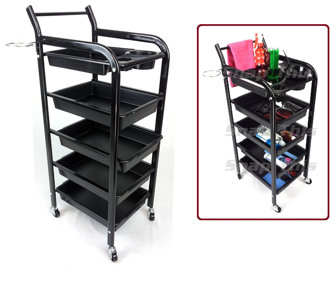 TekNoh 4S - Salon Storage Trolley - (High Gloss Black Finish) - Hairdresser Barber Hair Beauty Drawers Spa Cart T4S