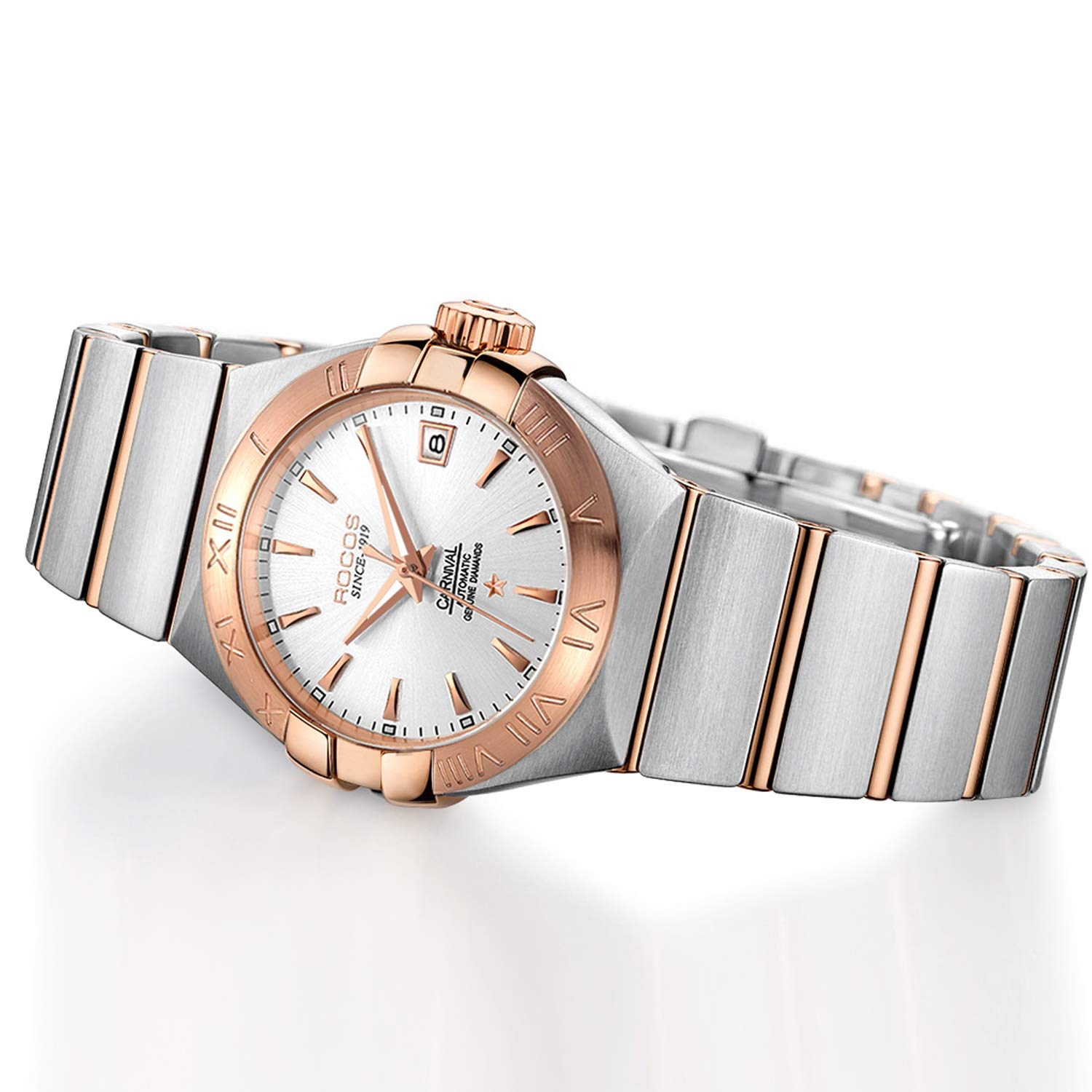 Women s Automatic Wrist Watch ROCOS Rose Gold Dress Watch with Stainless Steel and White Dial Ladies Crystal Analog Watches Luxury Classic Elegant Gift R1101L