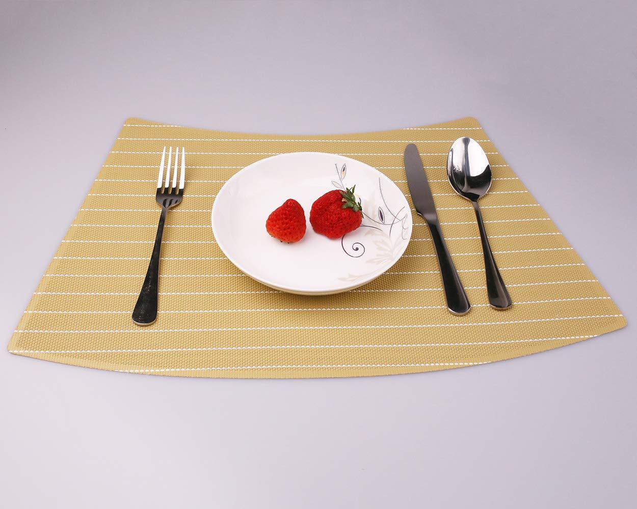 Convetu Round Table Mats Yellow PM07 Placemats for Dining Table Set of 4 Textilene PVC Vinyl Kitchen Farmhouse Stripe Style Non Slip Heat Resistant Washable