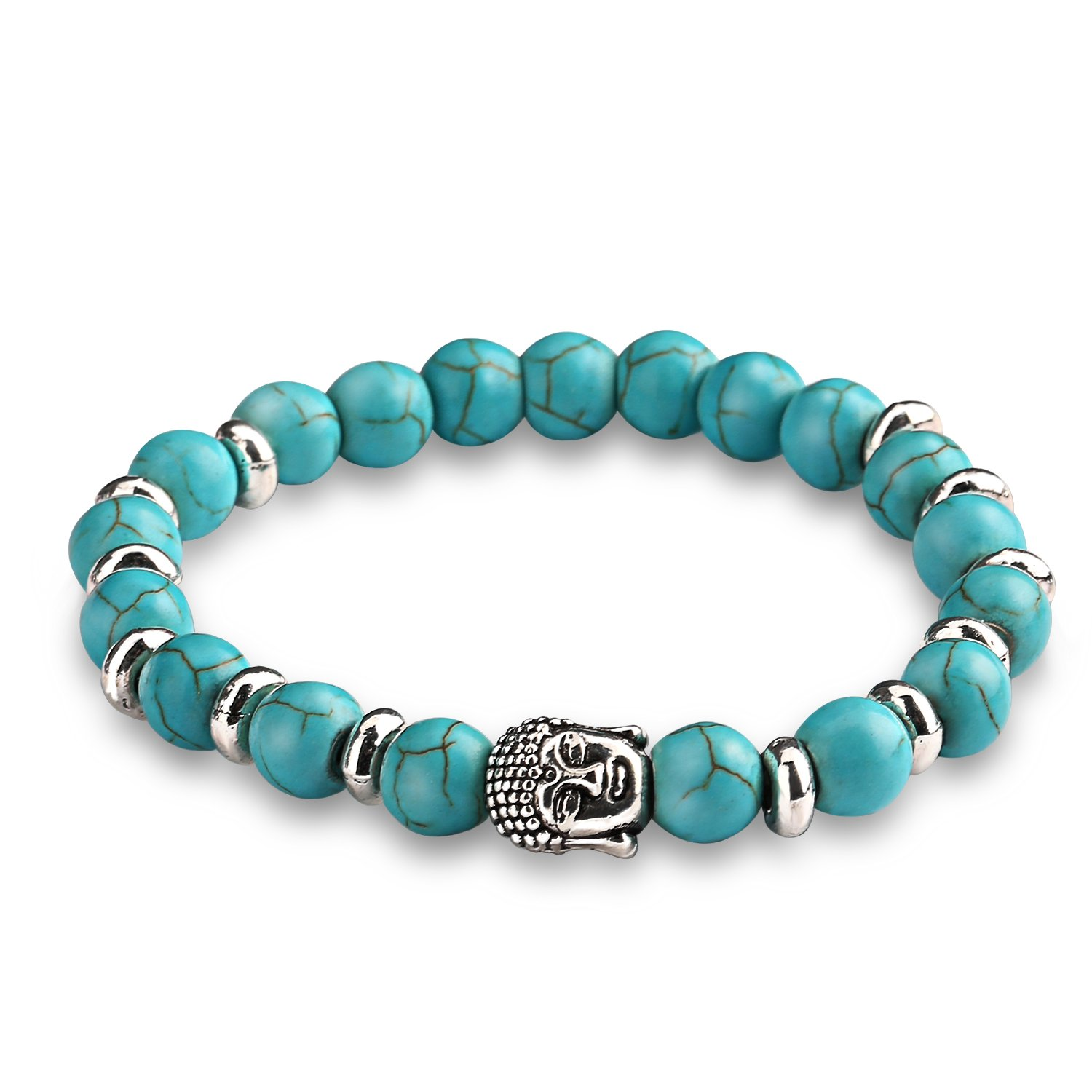 Energy Beads Bracelet, UHIBROS Lava Rock Turquoise Natural Agate Beaded Stretch Bracelet With Buddha Head Gold, Silver