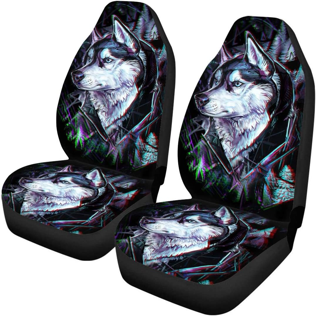 FUIBENG Set of 2 Car Seat Covers Abstract Purple Boho Mandala Floral Ethnic Tribal Design Universal Auto Front Seats Protector Fit for SUV Cars Sedan