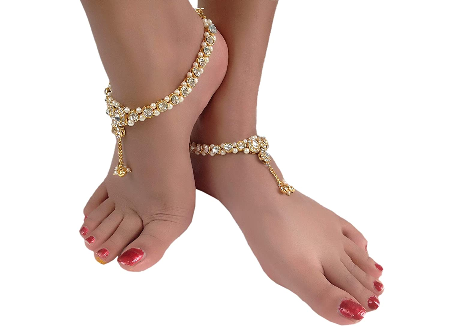 8a7208190b59ba Buy Womensky Antique Traditional Kundan Pearls Stone Fancy Gold Plated Payal /Anklet/Pajeb/Payjeb/Painjan/Ghungroo/Anklet Bracelet/Pattilu for Women and  ...