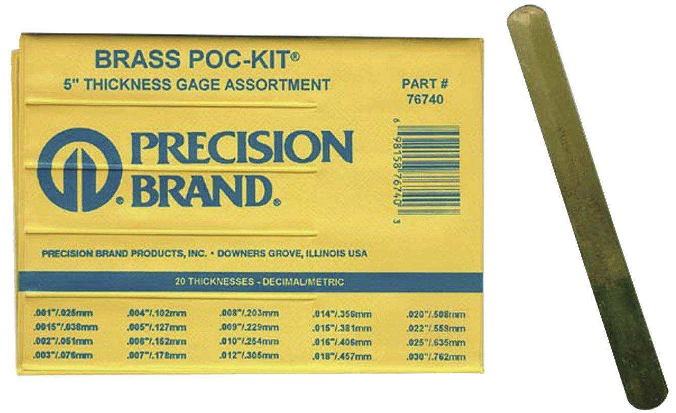 "B00065UZ4K Precision Brand 76740 Brass Thickness Feeler Gage Poc-Kit Assortment, 1/2"" Width, 5"" Length, 20 Blades 71bESJ3u3xL"