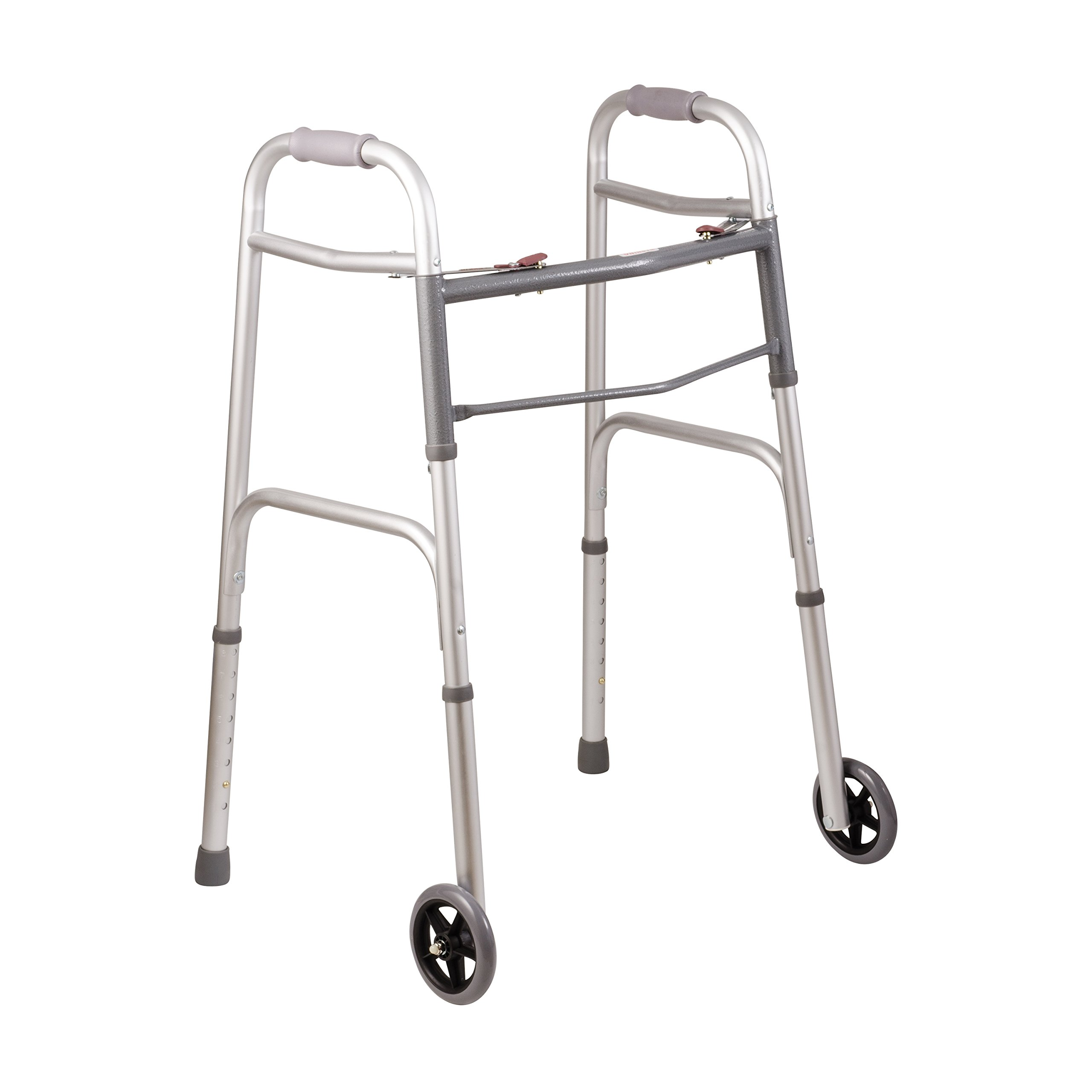 DMI Lightweight Aluminum Folding Walker with Easy Two Button Release, 5 Inch Wheels, Adjustable Height, No Assembly Needed, Silver by Duro-Med