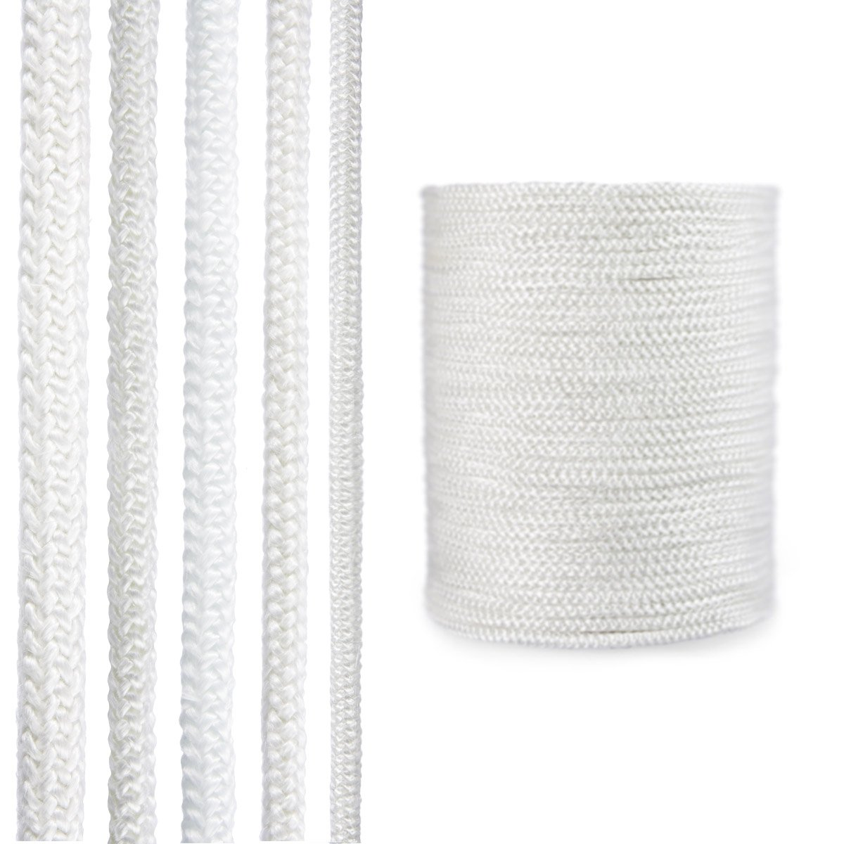 STEIGNER Cordone Isolante In Fibra di Vetro SKD02-10, Bianco Sigillante resistente alla temperatura fino a 550 ° C 4 m, 10 mm