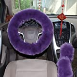 1 Set 3 Pcs Steering Wheel Cover Faux Wool Hand Brake Set Warm Winter (Purple)