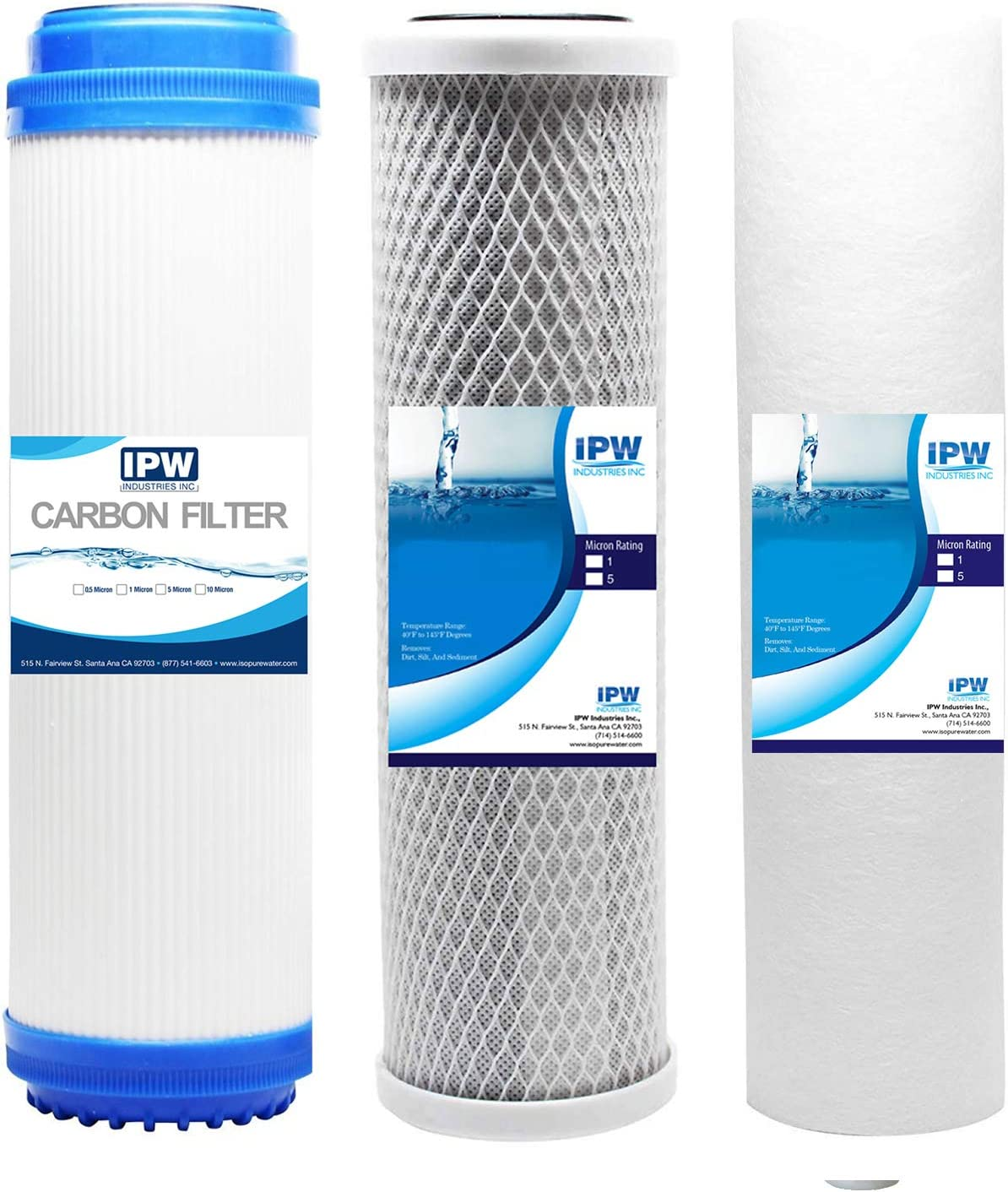 Granular Activated Carbon Fits iSpring F3 10-inch Universal Replacement Filter Set Cartridges for Reverse Osmosis and 3-Stage Water Filtration Systems Sediment and Carbon Block Filters