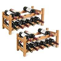 Homfa Cantinetta Portabottiglie in MDF per 24 Bottiglie, Scaffale Porta Vino e Calici