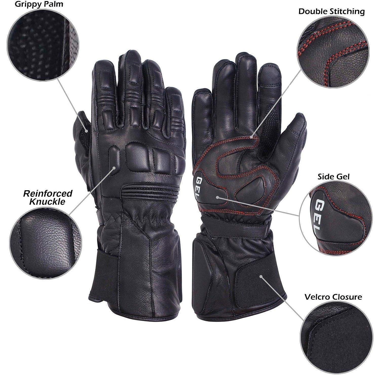 Cruising Premium Goatskin Leather Motorcycle Biker Riding Motorbike Gloves for Men and Women Medium