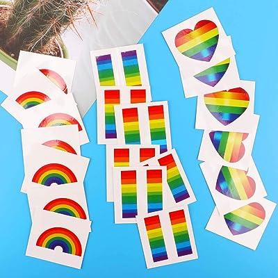 Tacobear Orgullo Gay Rainbow Stickers Tatuajes Temporales Rainbow Flag Pegatinas Extraíble Impermeable Cuerpo Rainbow Tatuajes Temporales (Heart-Shaped): Juguetes y juegos