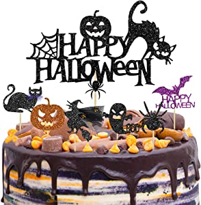 37 Halloween Party Cake Topper Cupcake Toppers Picks Decorations Kit Cake Cupcake Muffin Black Cat Spider Pumpkin Bat Ghost Witch Shape Food Picks Toppers for Halloween Party Supplies Themed Party
