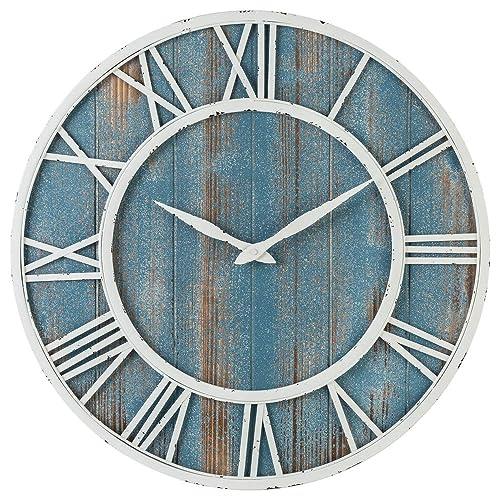 Coastal Wall Clock – Metal Solid Wood Noiseless Weathered Beach Blue Wall Clock Coastal Blue, 24-inch