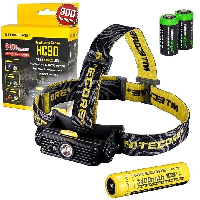 EdisonBright Nitecore HC50 565 Lumens CREE XM-L2 LED headlamp Bundled with Two CR123A Batteries.