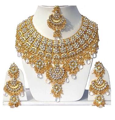 1e68b1c30454 Finekraft Kundan Zircon Marvelous Gold Plated Choker Necklace Jewelry Set  for Women  Amazon.in  Jewellery
