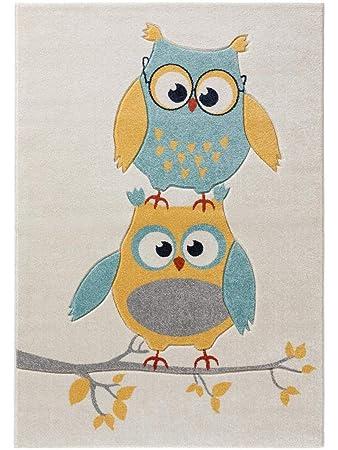 benuta Kinderteppich Freche Eule Blau 120x170 cm | Teppich für Spiel- und  Kinderzimmer