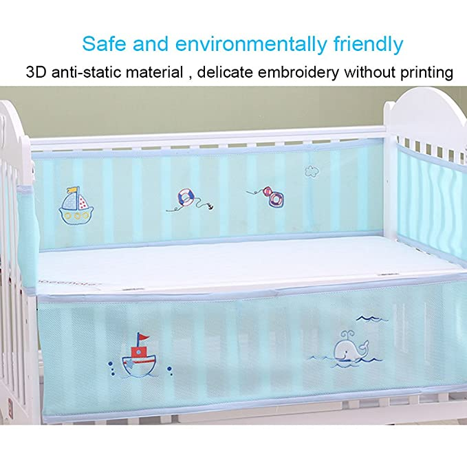 Baby Breathable Mesh Crib Liner,TRIEtree 4 Piece Cartoon Cotton Crib Liner Helps Prevent Arms and Legs from Getting Stuck Between Crib Slats