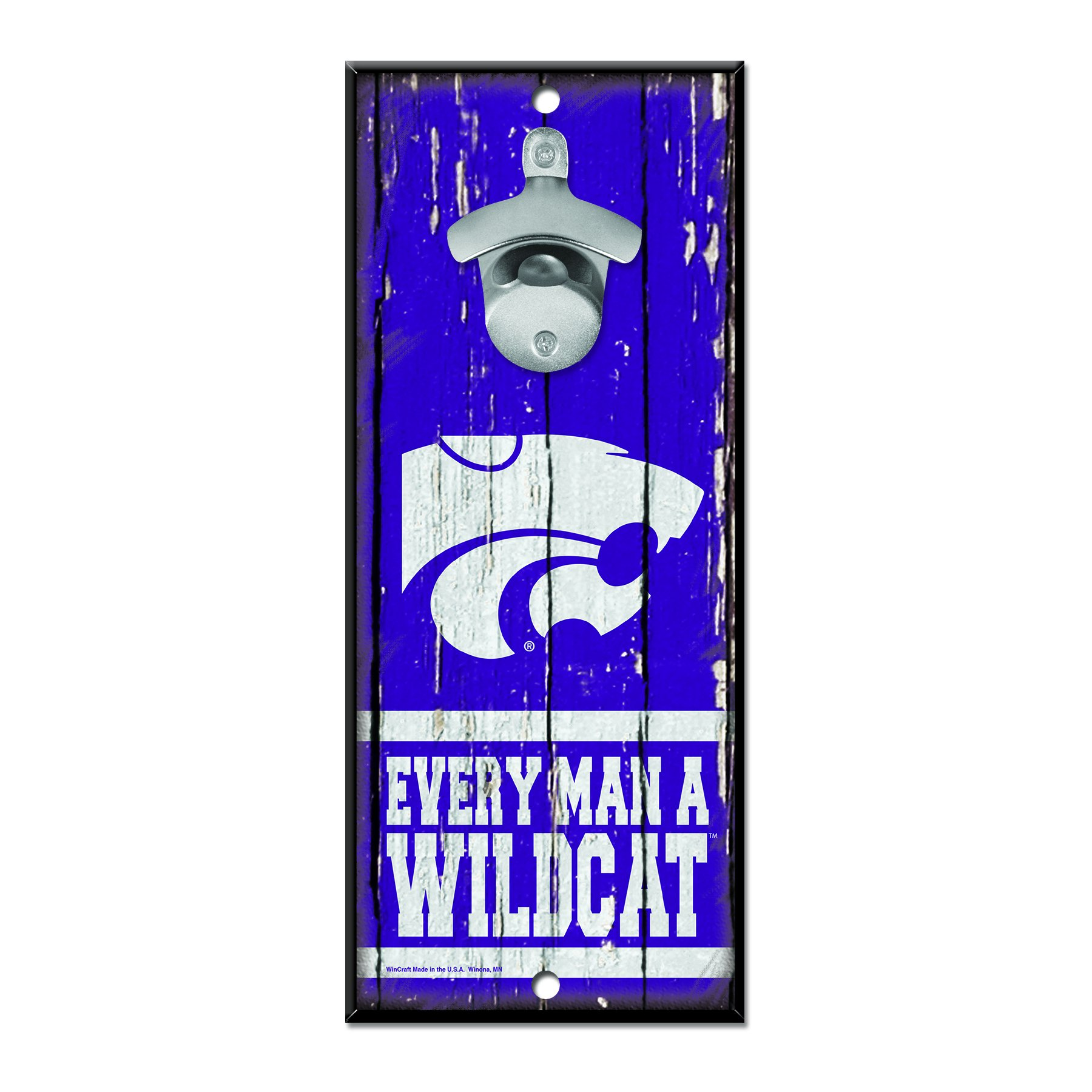 NCAA Kansas State Wildcats Wood Bottle Opener Sign, 5'' x 11'', Multicolor