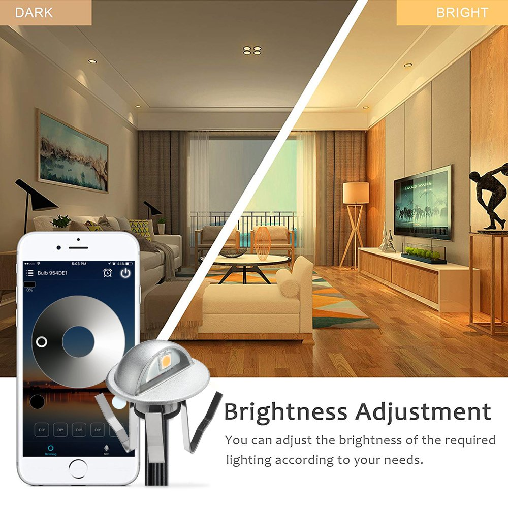 WiFi Deck Lights, FVTLED WiFi Controlled 20pcs Low Voltage LED Deck Lights Kit Φ1.38'' Outdoor Recessed Step Stair Warm White LED Lighting Work with Alexa Google Home, Silver by FVTLED (Image #6)
