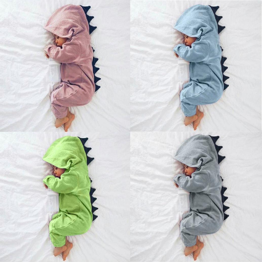 Pigiamino per Neonato a Forma di Dinosauro Body per Bambino Pagliaccetto Tutina Long sleeves-Blue 0-3 mesi Intero