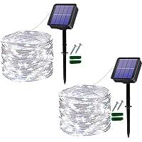 Guirnalda Luces Exterior Solar,2 Pack 120LED 12M Cadena de Luces Decorativas,IP65 Impermeable 8 Modos,Guirnaldas…